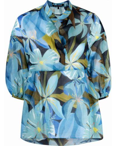 Синяя блузка с запахом с вырезом Luisa Cerano