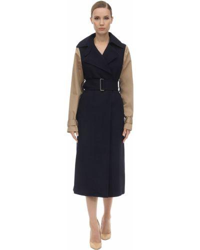 Синее длинное пальто с карманами с лацканами Victoria Beckham