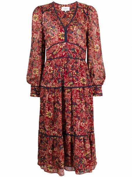 Платье макси с длинными рукавами - красное Ba&sh