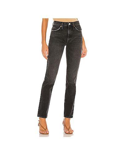 Прямые хлопковые черные прямые джинсы на молнии Re/done