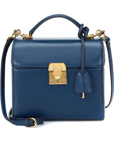 Синяя классическая кожаная сумка Mark Cross