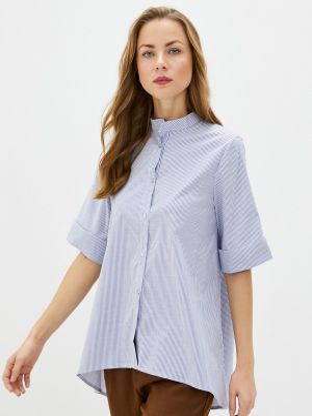 Блузка с коротким рукавом синяя весенний Perfect J