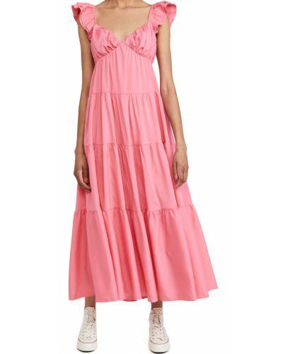 Розовое платье макси с декольте с подкладкой English Factory