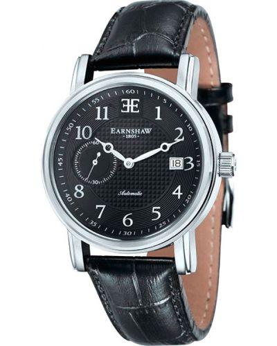 Черные с ремешком кожаные часы на кожаном ремешке Earnshaw