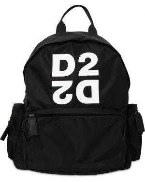 Czarny plecak z nylonu z printem Dsquared2