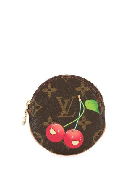 Кожаный коричневый кошелек для монет винтажный на молнии Louis Vuitton