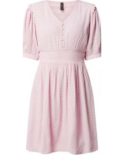 Różowa sukienka mini rozkloszowana z wiskozy Y.a.s