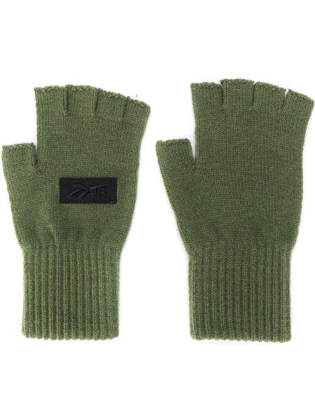 Zielone prążkowane rękawiczki bez palców wełniane Reebok X Victoria Beckham
