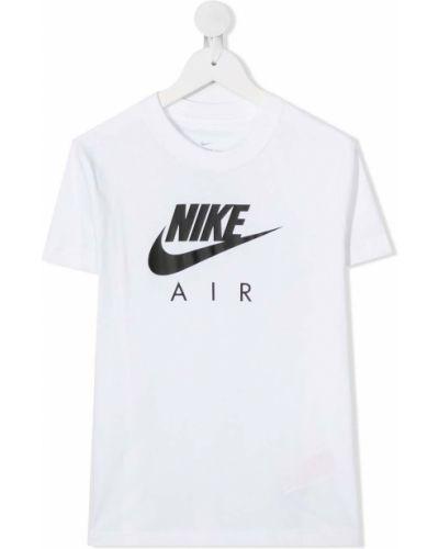 Хлопковая с рукавами белая футболка Nike Kids