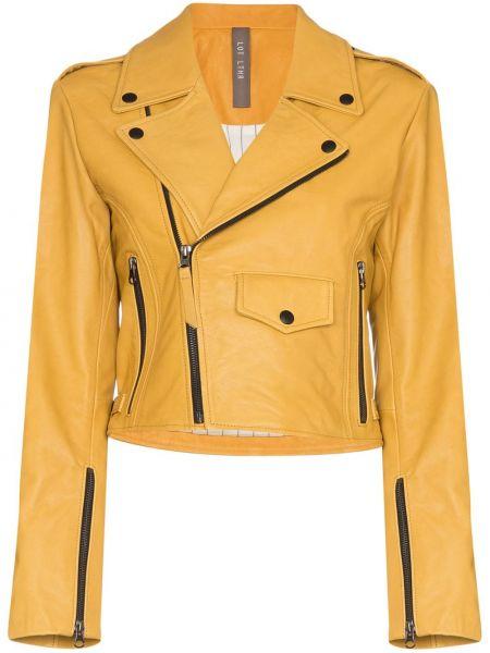 Желтая кожаная куртка байкерская Lot Lthr
