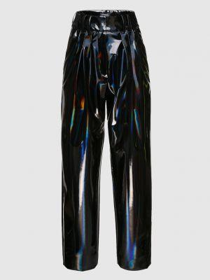Лаковые прямые черные брюки Balmain