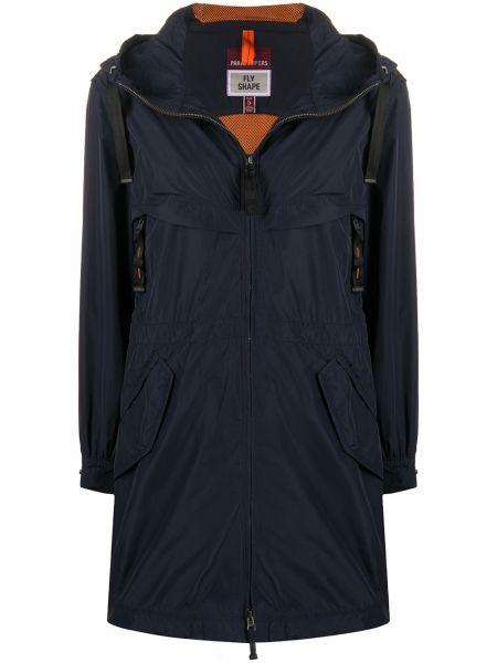 Синий длинное пальто с капюшоном на молнии Parajumpers