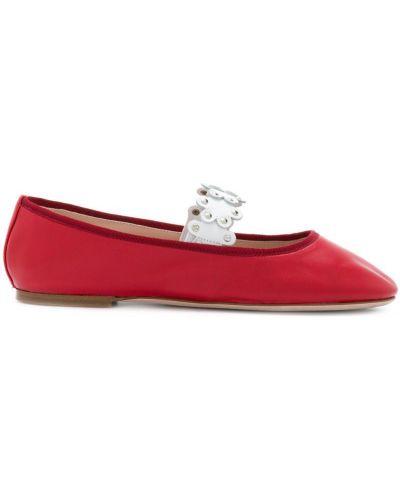 Красные балетки с заклепками Red Valentino
