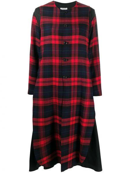 Синее шерстяное длинное пальто в клетку Comme Des Garçons Noir Kei Ninomiya