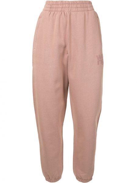 Хлопковые розовые зауженные спортивные брюки с поясом T By Alexander Wang
