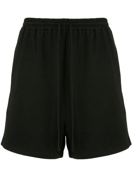 Хлопковые спортивные черные спортивные шорты с поясом Sir.
