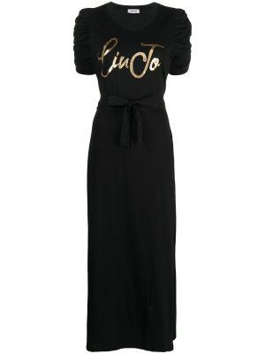 Черное платье мини с вырезом с оборками Liu Jo