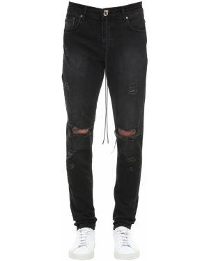 Czarne jeansy bawełniane z paskiem Other
