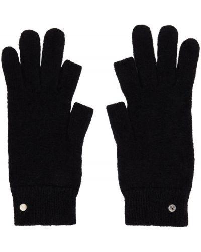 Czarny rękawiczki z mankietami z alpaki Rick Owens