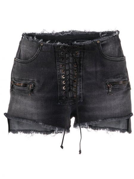 Джинсовые шорты черные с бахромой Unravel Project