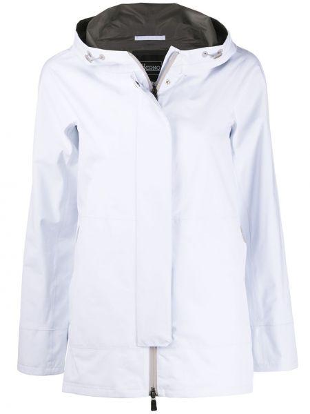 Прямая белая длинное пальто с капюшоном Herno