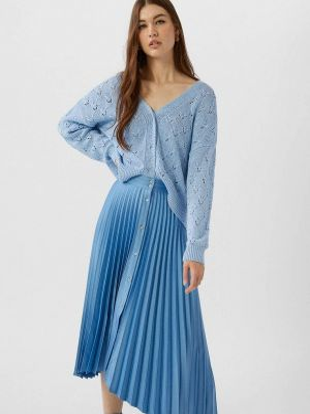 Плиссированная юбка синяя весенняя Stradivarius
