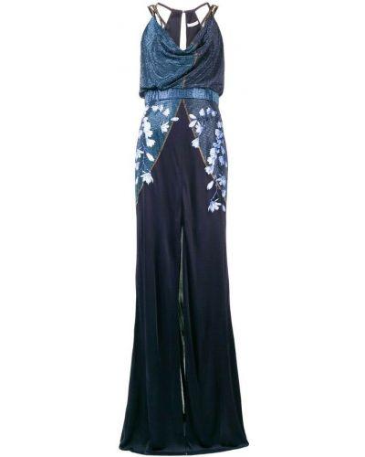 Платье макси длинное - синее Versace Collection