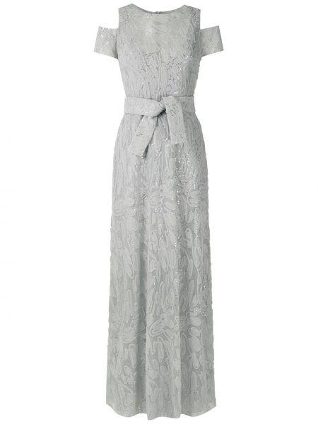 Приталенное серое вечернее платье на молнии с вырезом Gloria Coelho