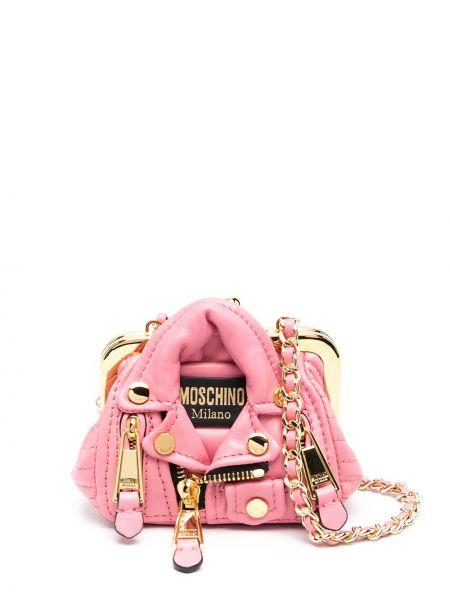 Różowy złoty torebka na łańcuszku Moschino