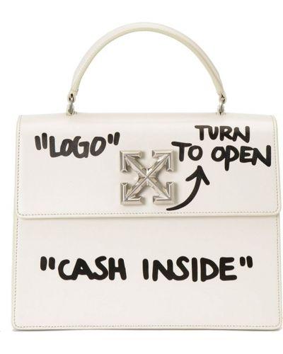 Кожаная сумка маленькая большая Off-white