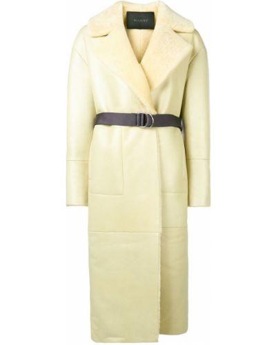 Желтое длинное пальто с капюшоном Blancha