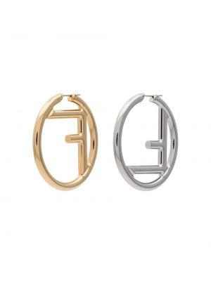 Серебряные серьги золотые серьги-кольца Fendi