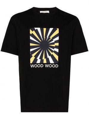 Хлопковая футболка - черная Wood Wood