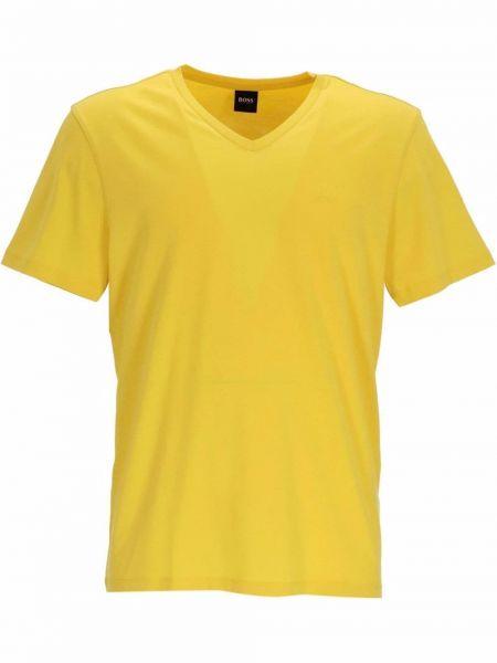 Żółta T-shirt z nadrukiem z printem Boss Hugo Boss