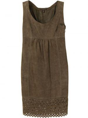 Коричневое кожаное платье винтажное Louis Vuitton