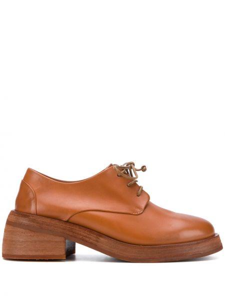 Koronkowa skórzany buty brogsy zasznurować okrągły nos Marsell
