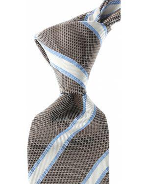 Biały krawat w paski z jedwabiu Belvest