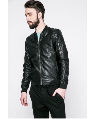 Кожаная куртка на резинке прямая Blend