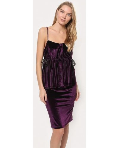 Фиолетовый вязаный юбочный костюм Tutto Bene