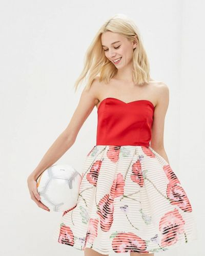 Коктейльное платье весеннее красный Adl