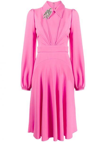 Różowa sukienka długa z długimi rękawami z wiskozy N°21