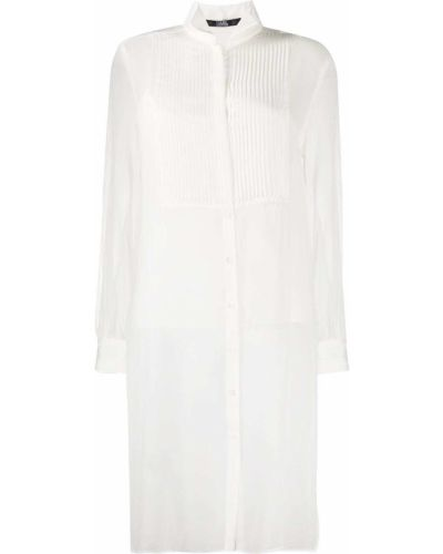 Белая шелковая рубашка прозрачная на пуговицах Karl Lagerfeld