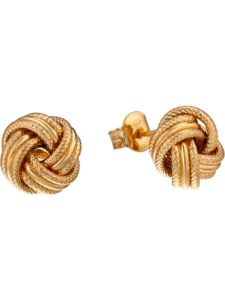 Золотистые желтые серьги-гвоздики позолоченные с декоративной отделкой Madde