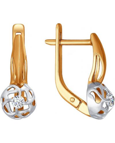 Золотые серьги с бриллиантом Sokolov