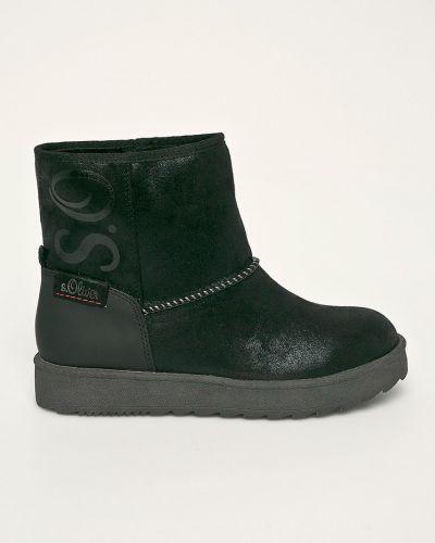 Теплые черные текстильные зимние ботинки круглые S.oliver