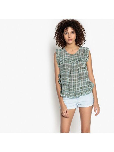 Зеленая блузка без рукавов с вырезом с рисунком круглая See U Soon
