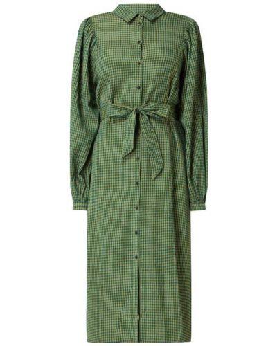 Sukienka rozkloszowana z wiązaniami - zielona Selected Femme