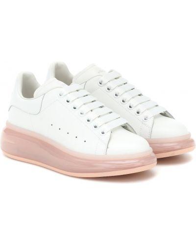 Skórzany biały skórzane sneakersy przezroczysty Alexander Mcqueen