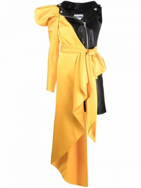 Желтое платье из вискозы Moschino