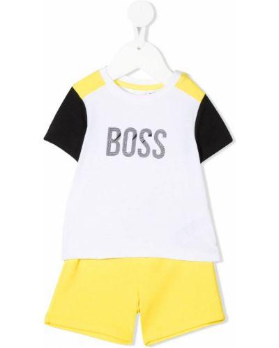 Żółty dres bawełniany z printem Boss Kidswear